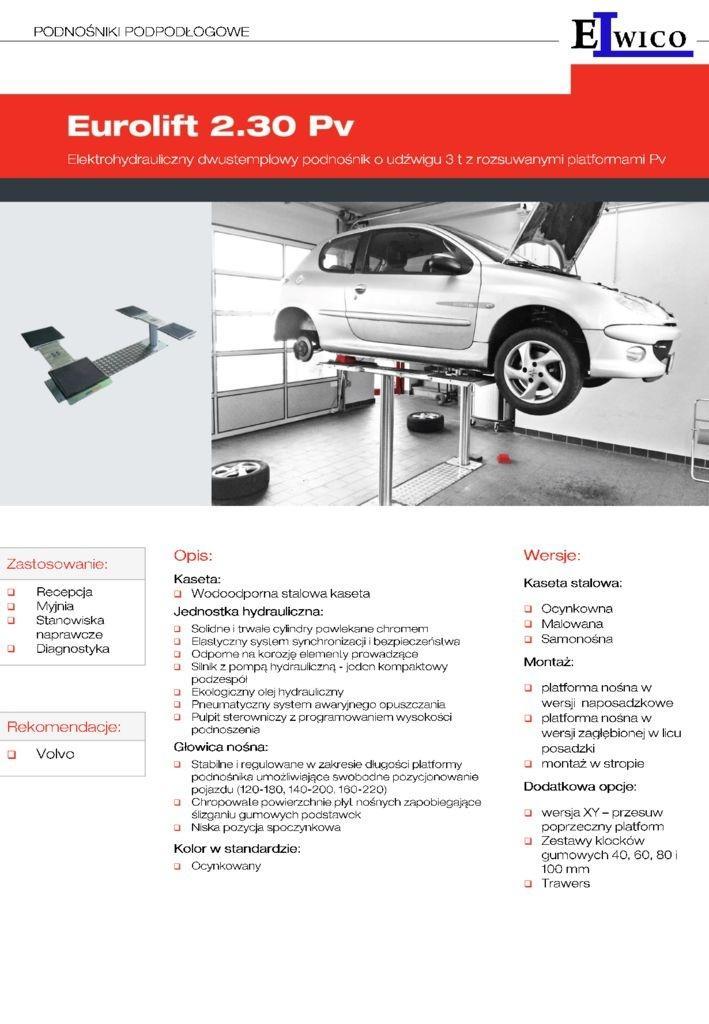 EUROLIFT 2.30 KARTA ELWICO2 pdf - Podnośnik samochodowy EUROLIFT 2.30 Pv