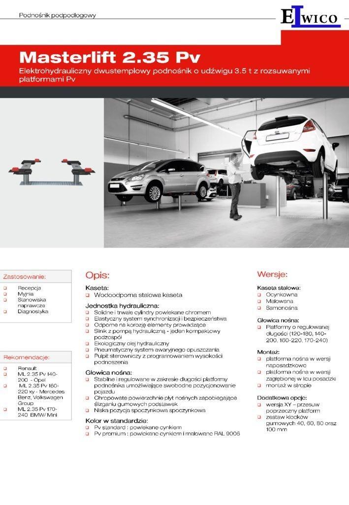 MASTERLIFT PV FOLDER PL 03 2019 1 pdf - Podnośnik samochodowy MASTERLIFT 2.35 Saa 230