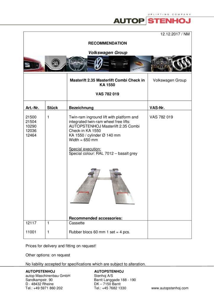Masterlift 235 Combi Check in KA 1550 VAS 782019 EN  1 1 pdf - Volkswagen Group