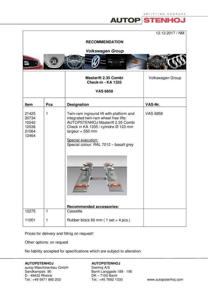 Masterlift 235 Combi Check in VAS 6858 EN  2 pdf - Volkswagen Group