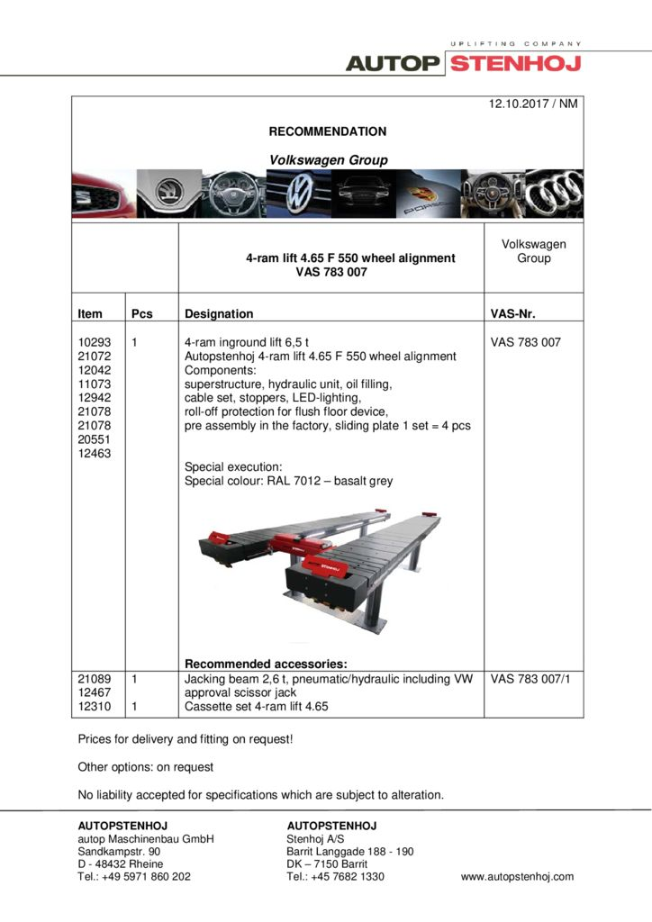 4 ram lift 465 F550 Achsvermessung VAS 783007 EN  1 pdf - Volkswagen Group