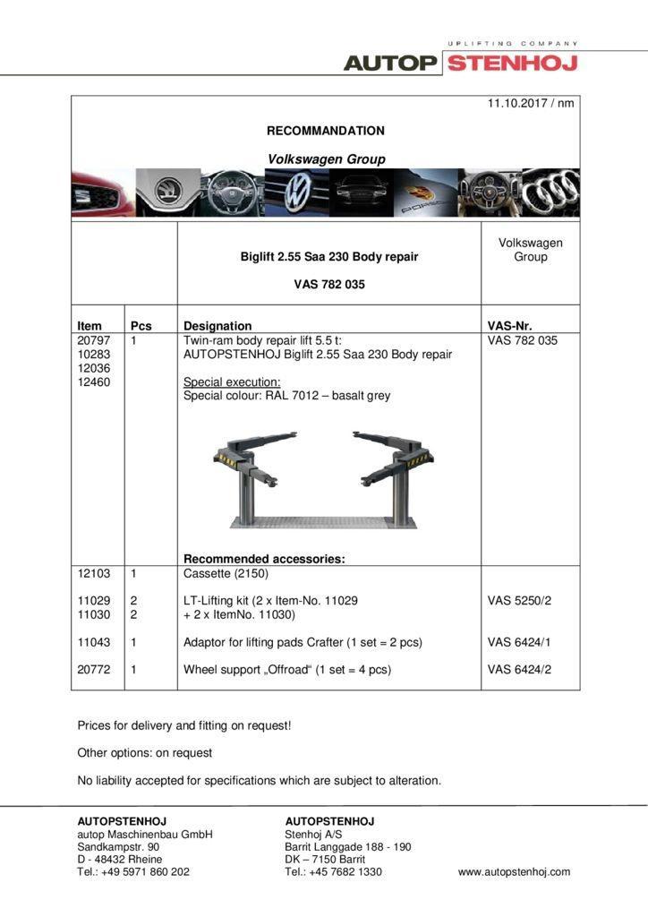 Biglift 255 Saa 230 Karosserie VAS 782 035 EN  1 pdf - Volkswagen Group