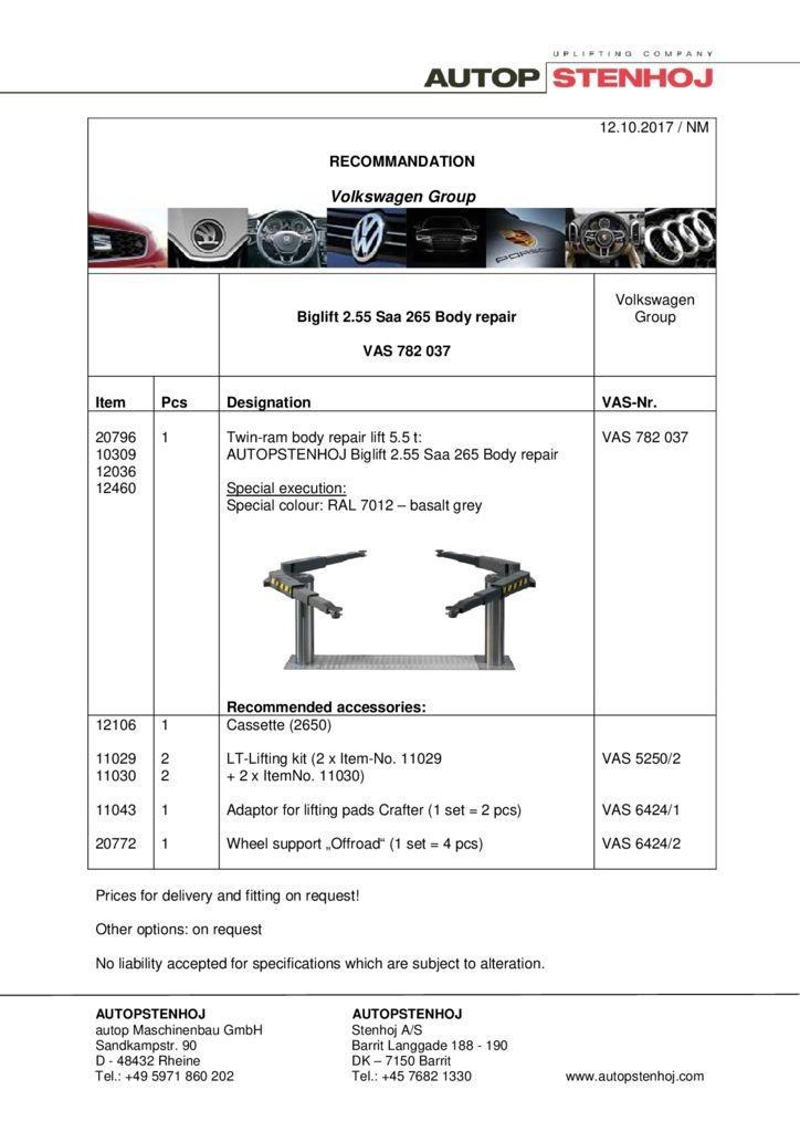 Biglift 255 Saa 265 Karosserie VAS 782 037 EN  1 pdf - Volkswagen Group