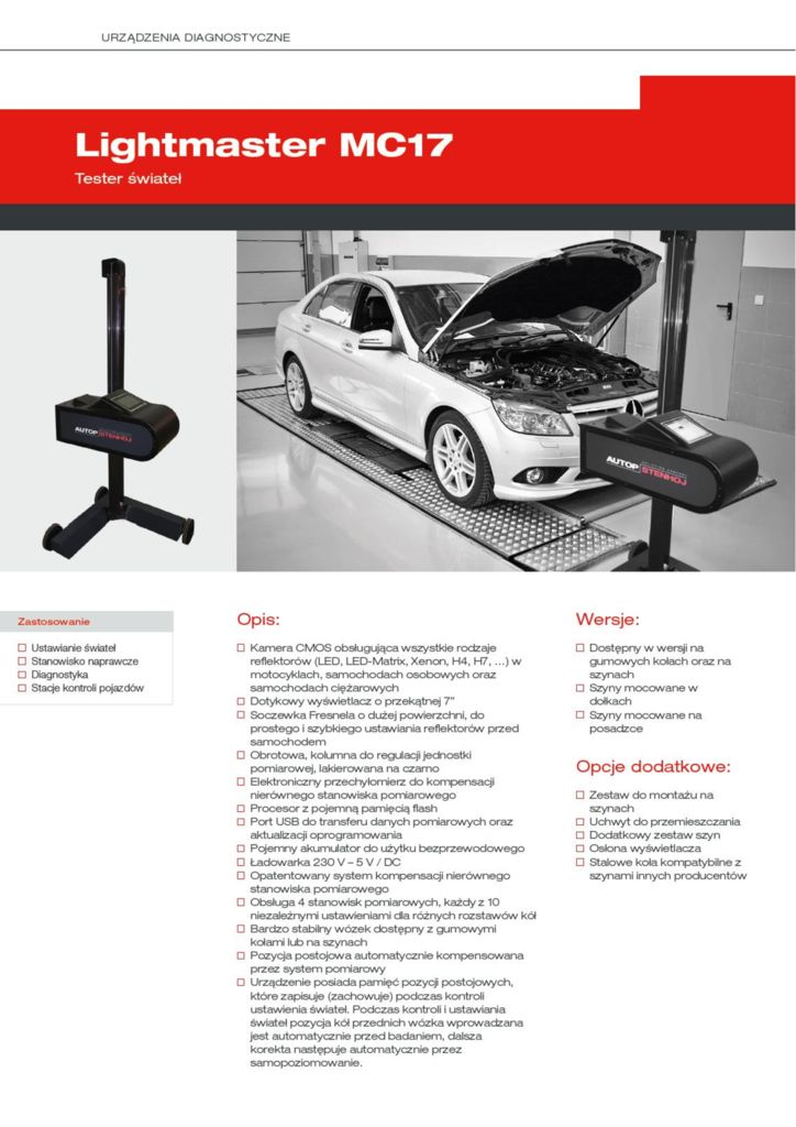Lightmaster MC17 pdf - Tester świateł Lightmaster MC17