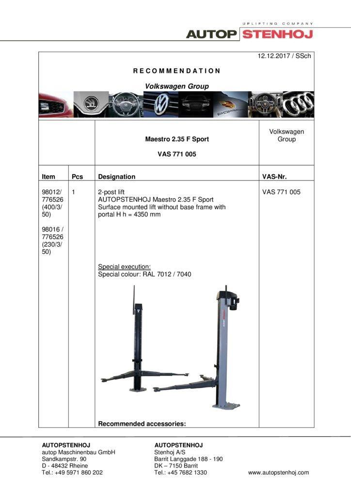 Maestro 235 F Sport VAS 771005 EN  1 pdf - Volkswagen Group