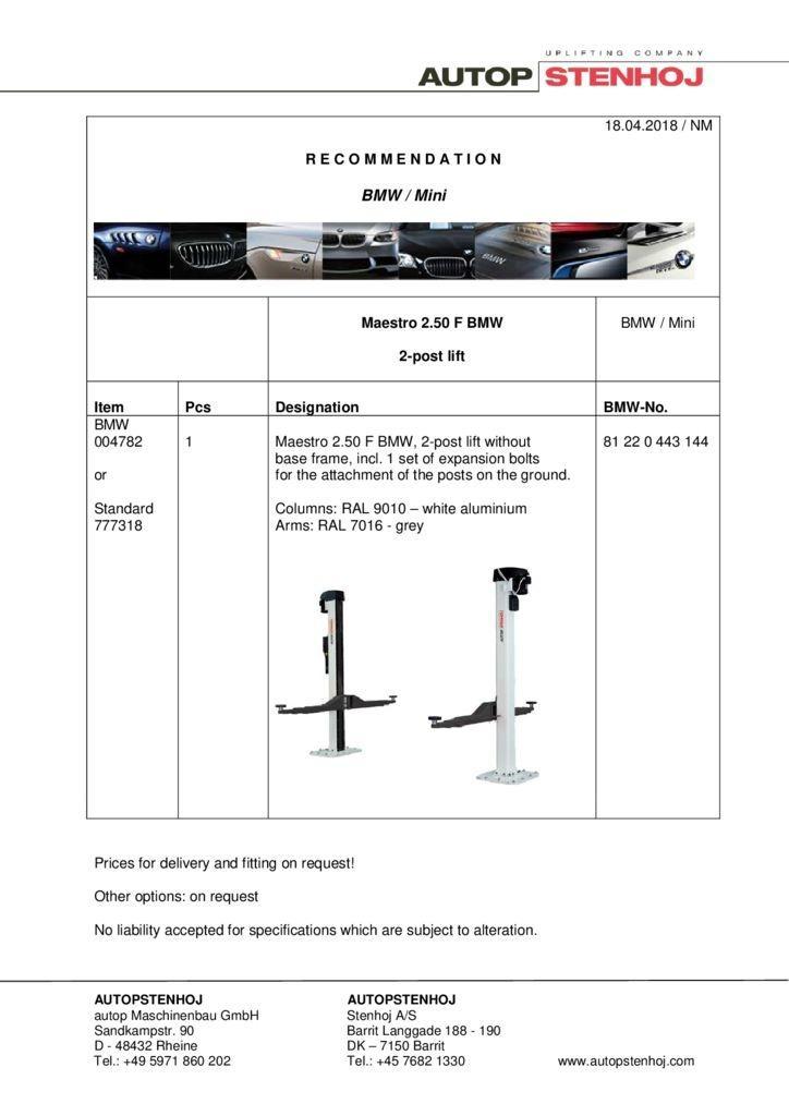 Maestro 250 F EN  042018 1 pdf - BMW / Mini