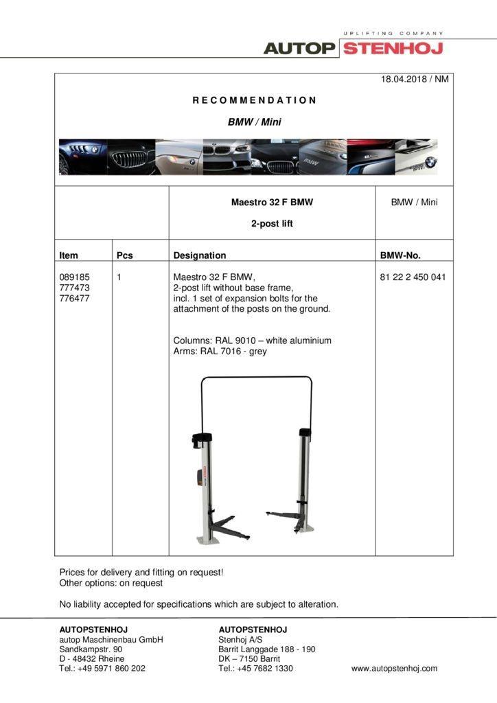 Maestro 32 F BMW 8122245041 EN  042018 2 pdf - BMW / Mini