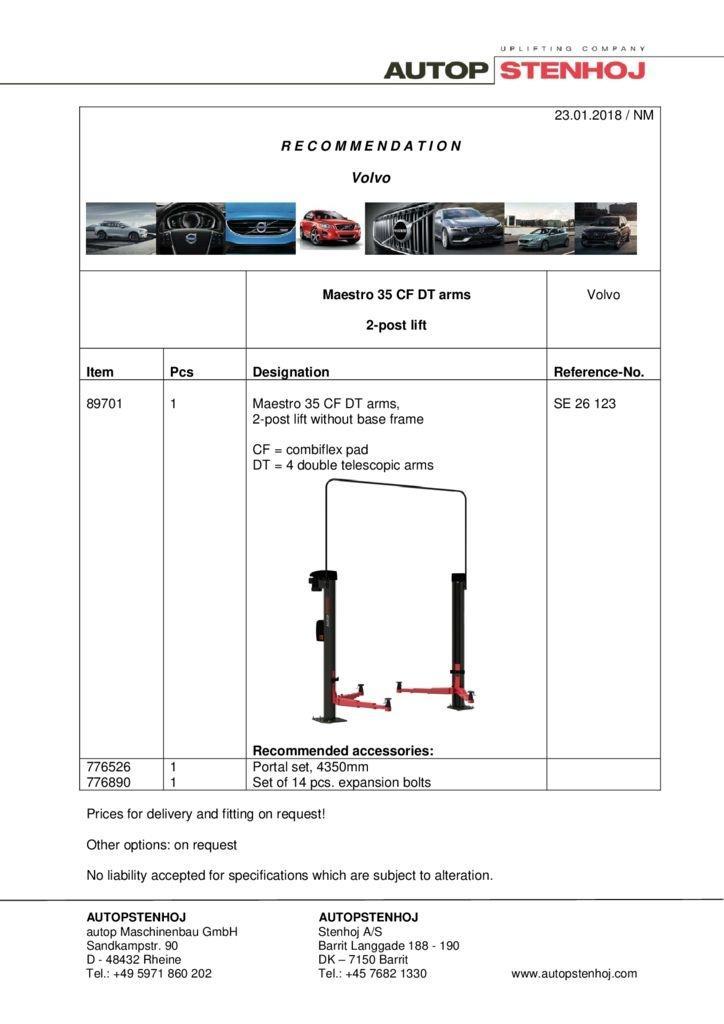 Maestro 35 CF DT arms SE 26123 Volvo EN  pdf - Volvo