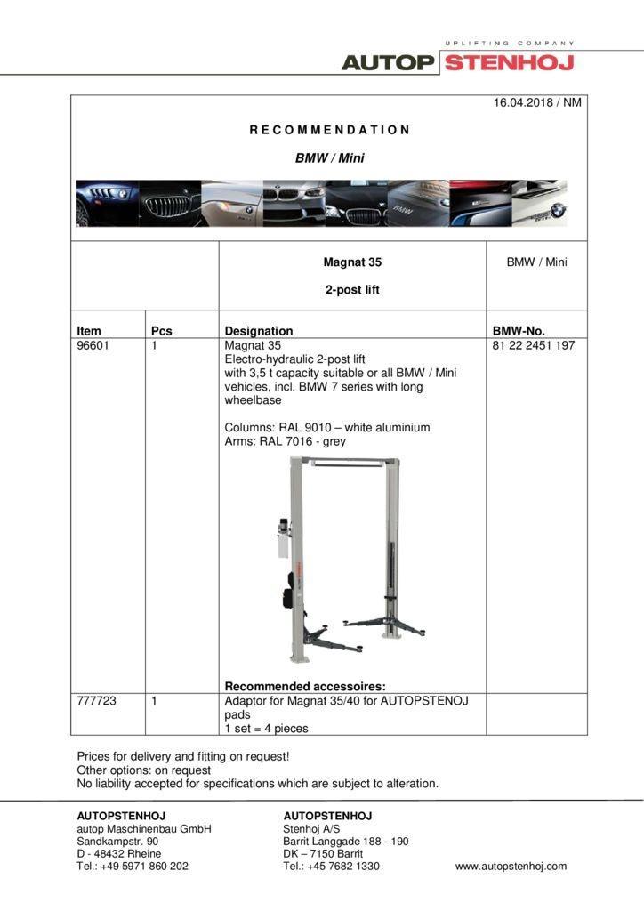 Magnat 35 BMW 81222451197 EN  042018 1 pdf - BMW / Mini