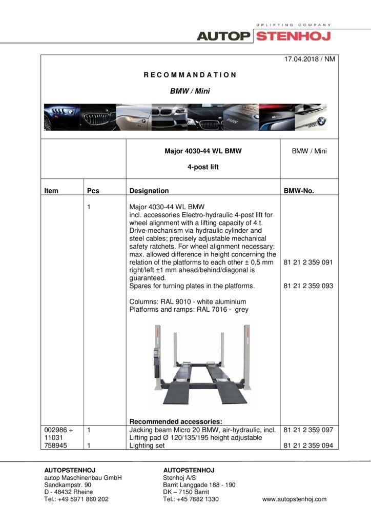 Major 4030 44 WL EN  04218 1 pdf - BMW / Mini