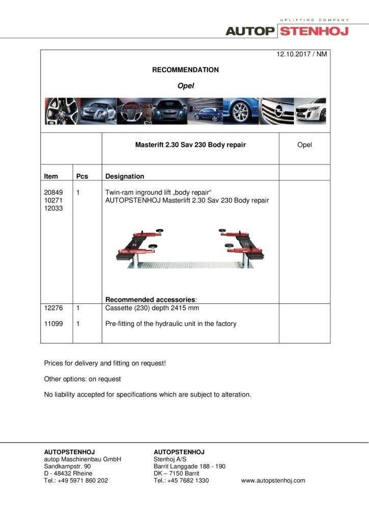 Masterlift 230 Sav 230 Karosserie EN  pdf - Opel