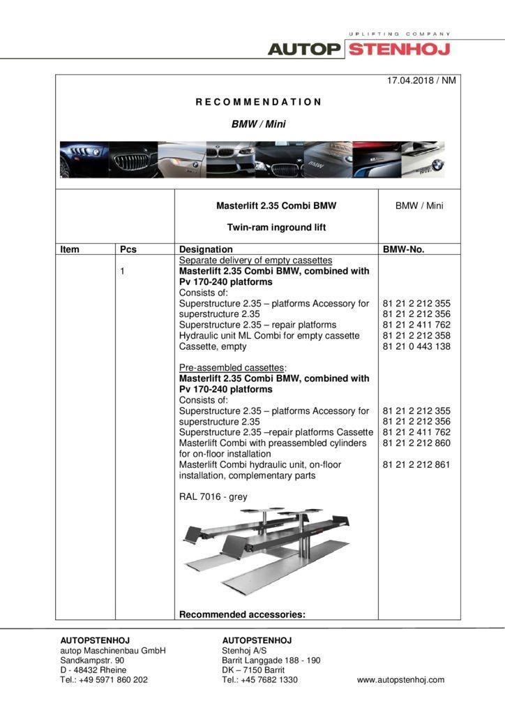 Masterlift 235 Combi EN  042018 2 pdf - BMW / Mini