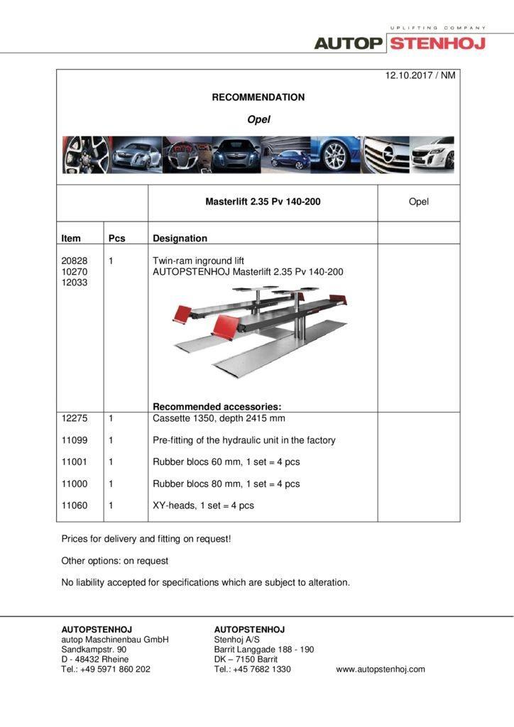 Masterlift 235 Pv 140 200 EN  pdf - Opel