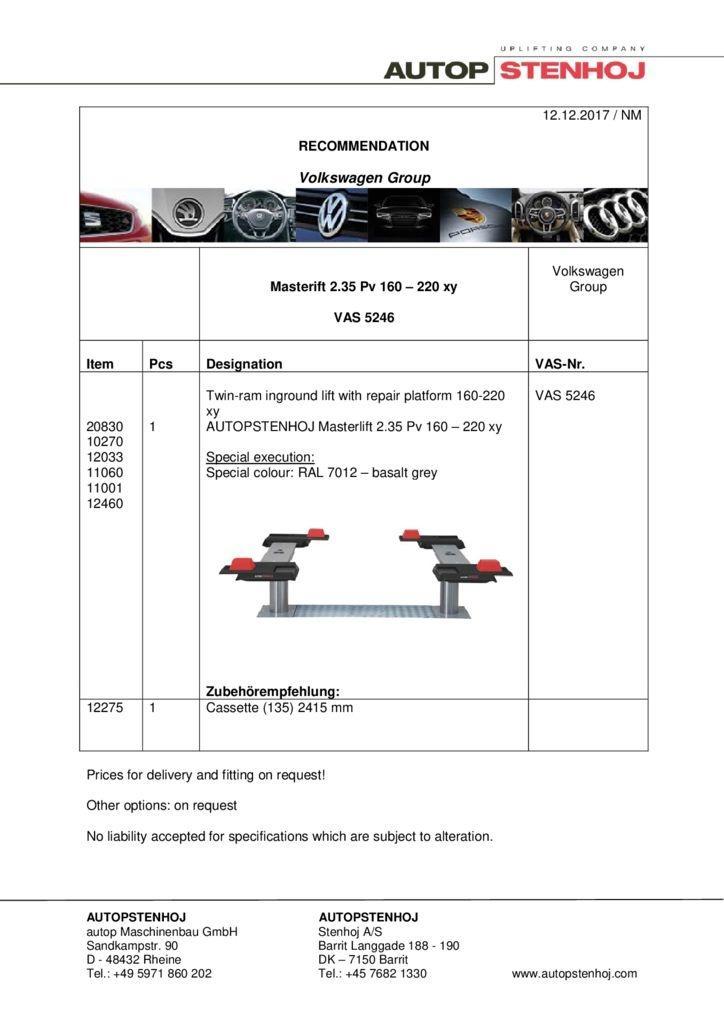 Masterlift 235 Pv 160 220xy VAS 5246 EN  pdf - Volkswagen Group