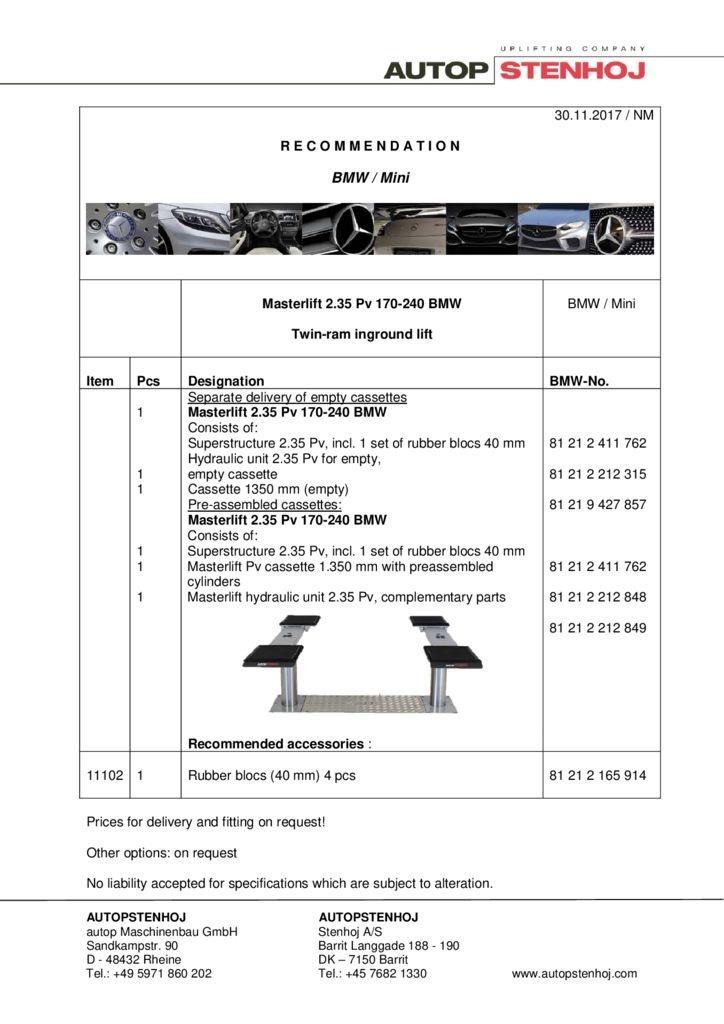 Masterlift 235 Pv 170 240 EN  1 pdf - BMW / Mini