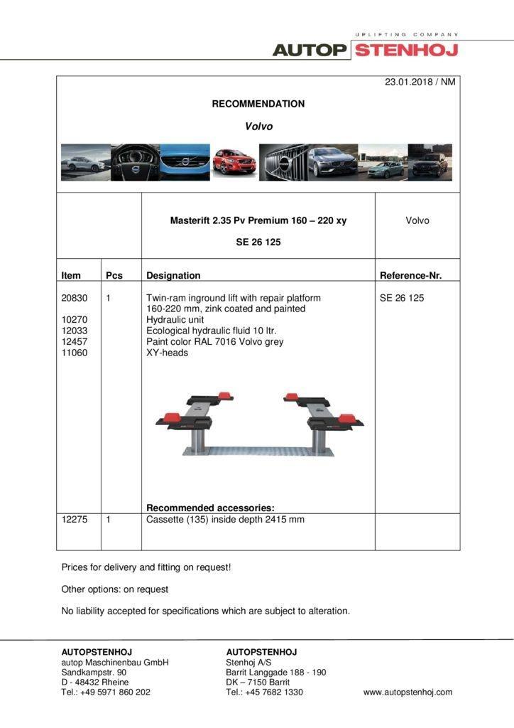 Masterlift 235 Pv Premium 160 220 SE 26125 Volvo EN  pdf - Volvo