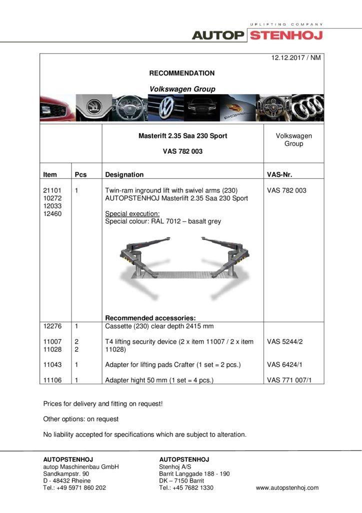 Masterlift 235 Saa 230 Sport VAS 782003 EN  1 pdf - Volkswagen Group