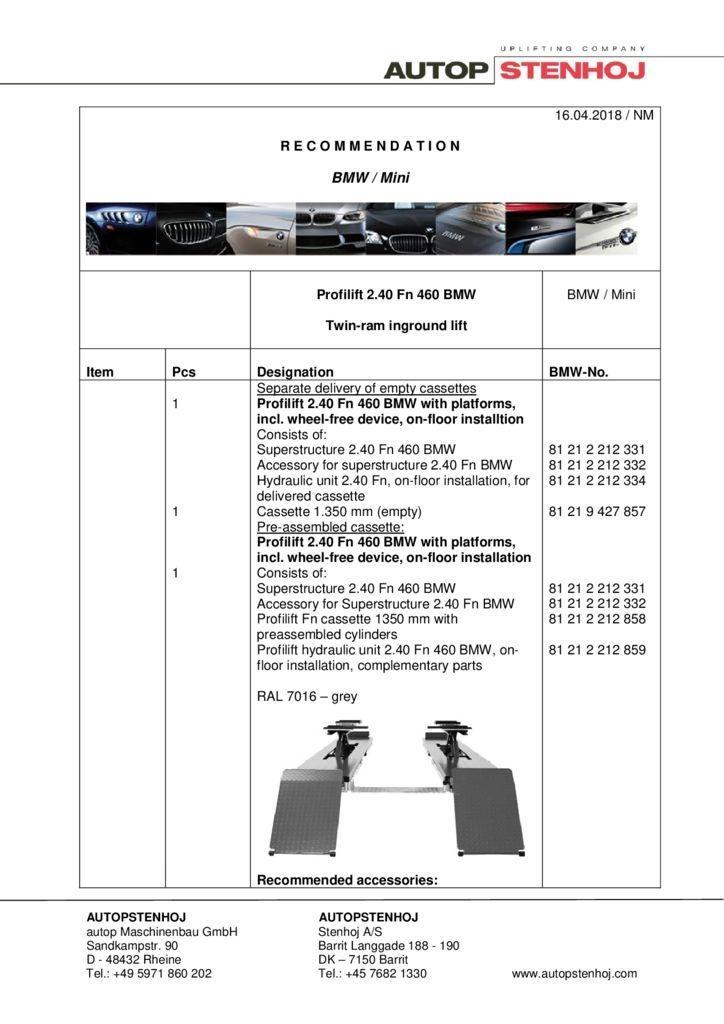 Profilift 240 Fn 460 EN  042018 pdf - BMW / Mini