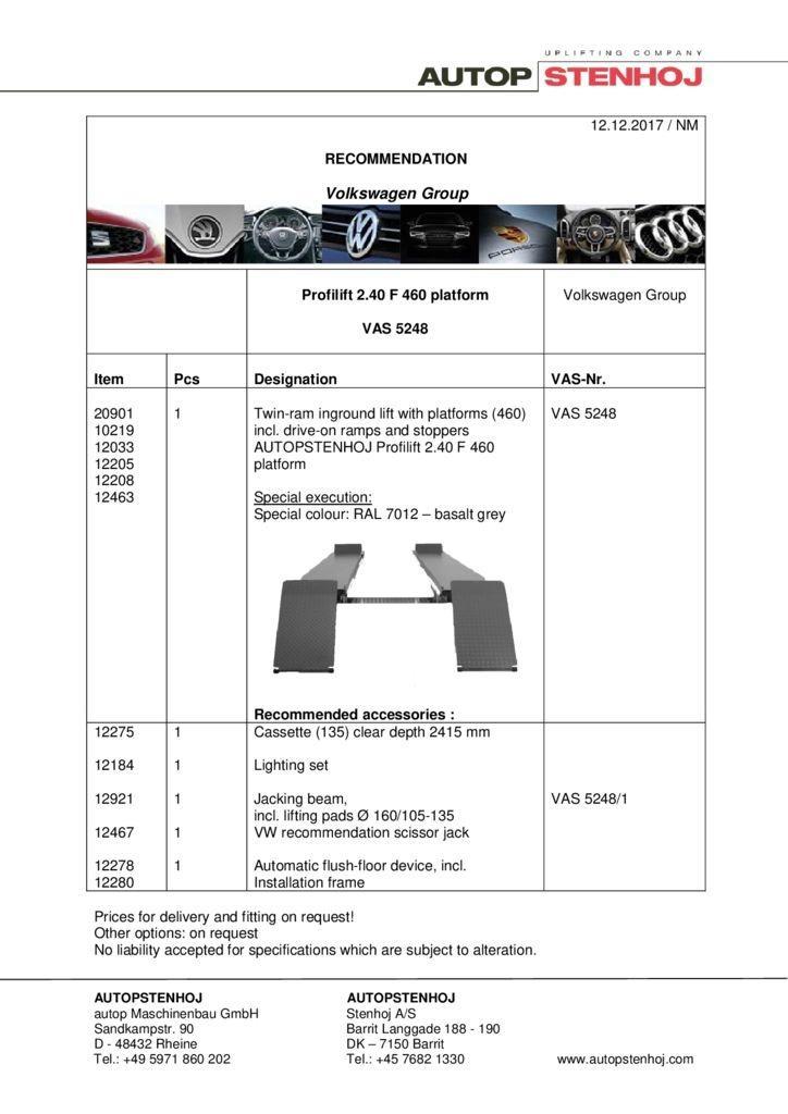 Profililft 240F460 Fahrbahn VAS 5248 EN  1 pdf - Volkswagen Group