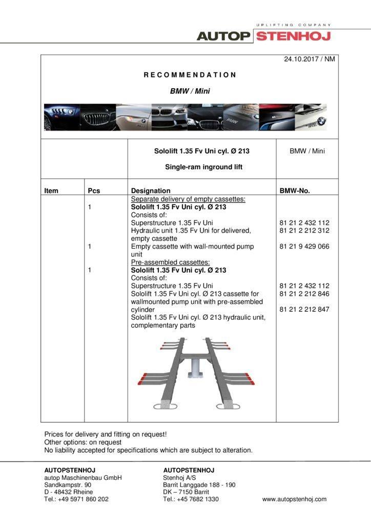 Sololift 135 Fv Uni Cyl. 213 EN  pdf - BMW / Mini