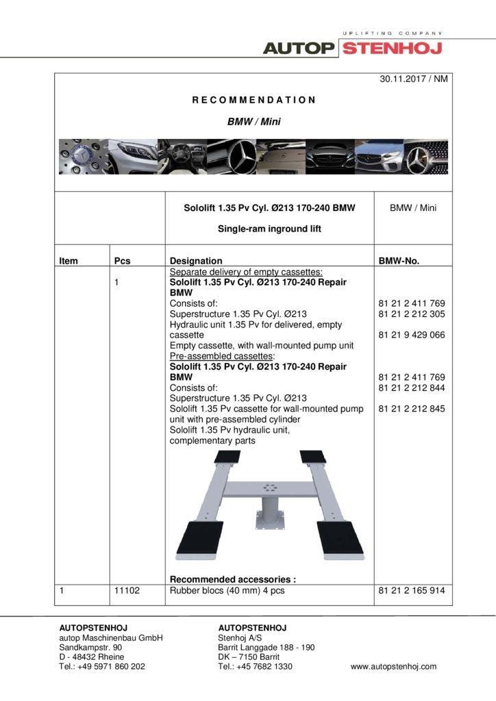 Sololift 135 Pv Cyl. 213 170 240 EN  1 pdf - BMW / Mini