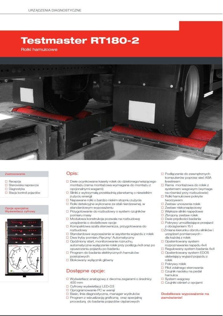 FOLDER TESTMASTER RT180.2 ELWICO pdf - Rolkowy tester hamulców Testmaster do 18 ton