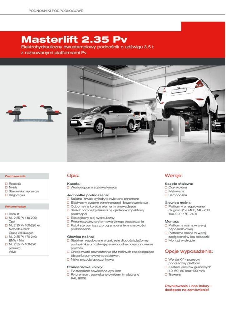 Masterlift 2.35 Pv Elwico Serwis pdf - Podnośnik samochodowy MASTERLIFT 2.35 Pv xy
