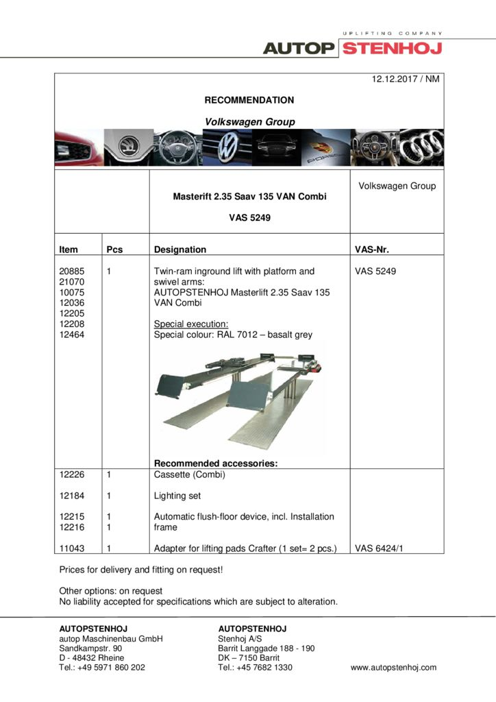 Masterlift 235 Saav 135 Van Combi VAS 5249 EN  pdf - Volkswagen Group