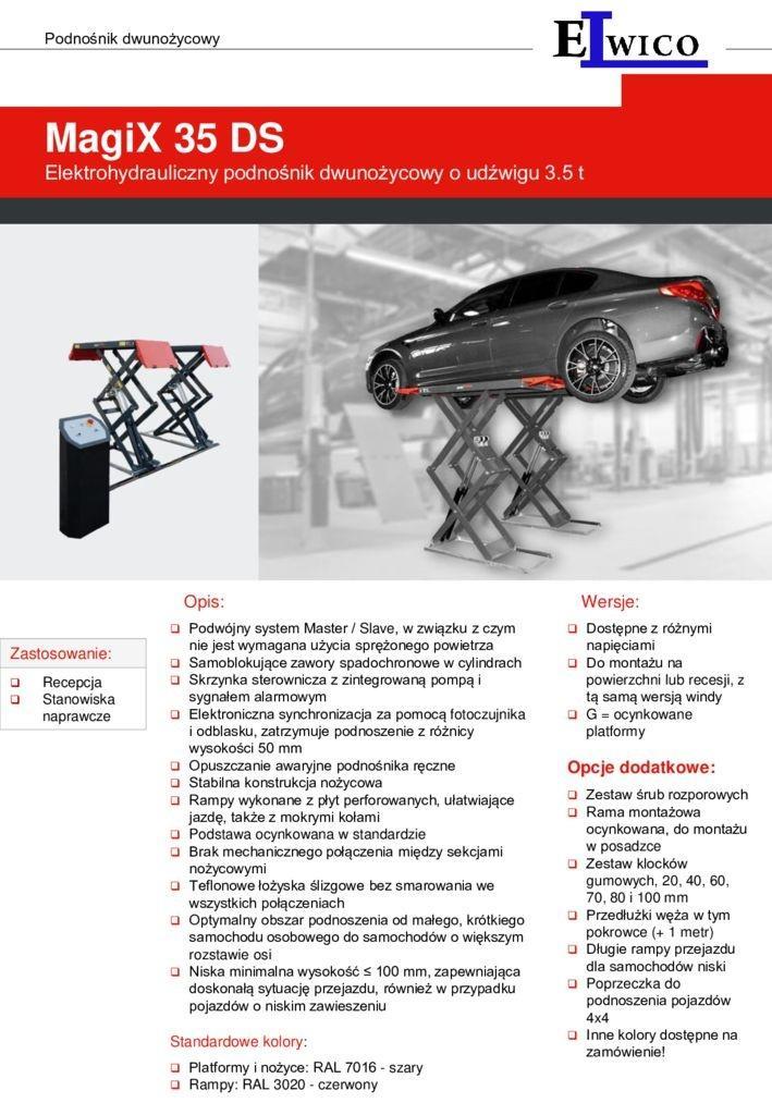 MAGIX 35 DS KARTA PRODUKTU ELWICO pdf - Podnośnik nożycowy samochodowy MagiX 35 DS