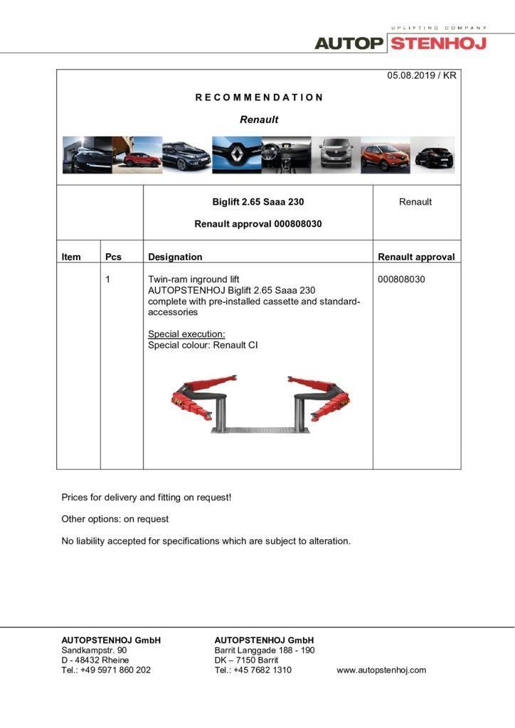 Update Biglift 265 Saaa 230 000808030 EN  pdf - Renault