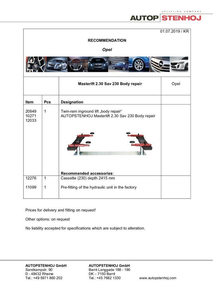 Update Firmenname Masterlift 230 Sav 230 Karosserie EN  pdf - Opel