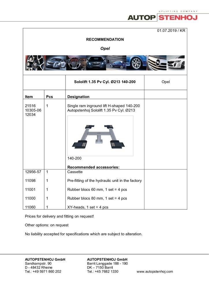Update Firmenname Sololift 135 Pv Cyl. 213 140 200 EN  pdf - Opel