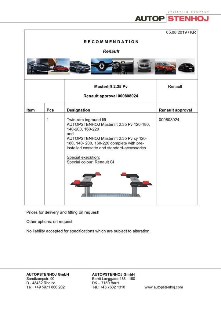 Update Masterlift 235 Pv 000808024 EN  1 pdf - Renault