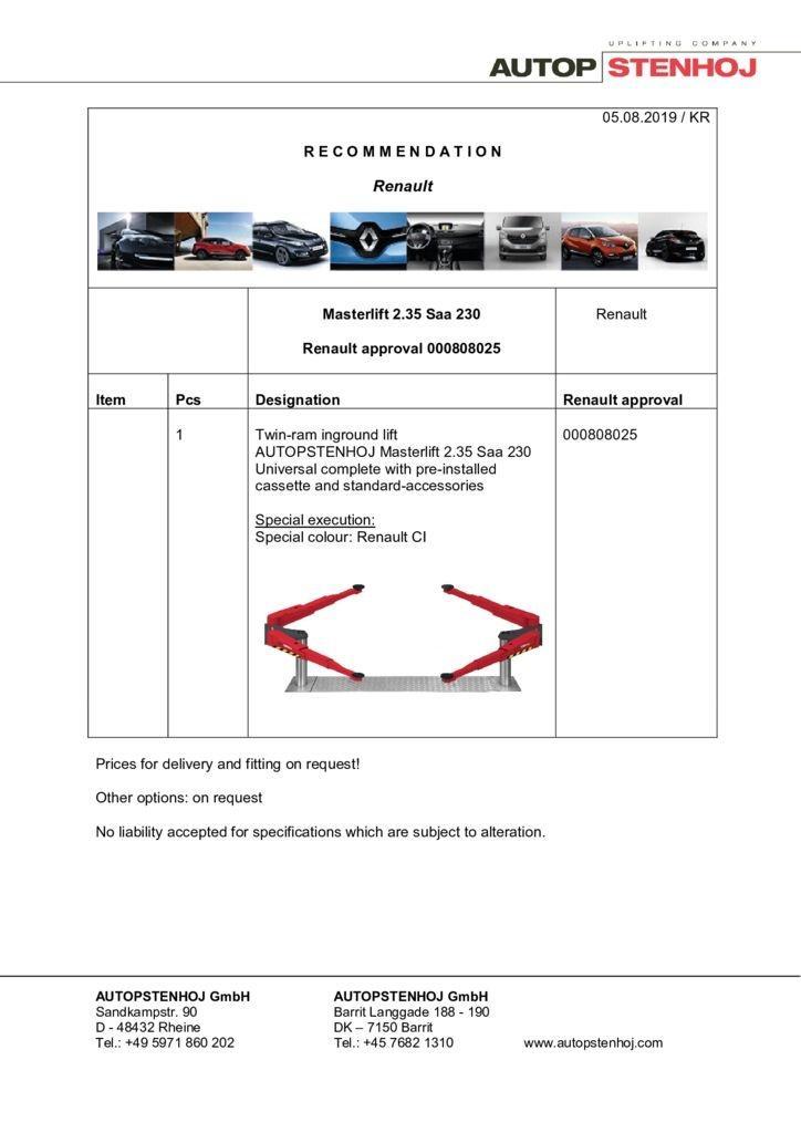 Update Masterlift 235 Saa 230 000808025 EN  pdf - Renault