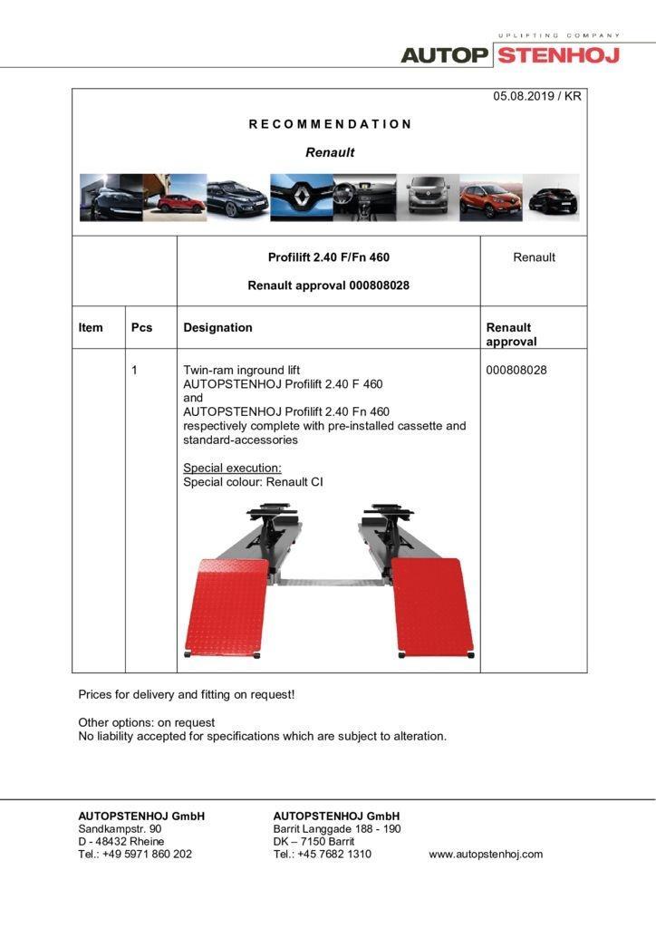 Update Profilift 240 F Fn 460 000808028 EN  pdf - Renault