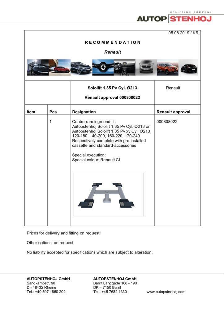 Update Sololift 135Pv Cyl. 213 000808022 EN  pdf - Renault
