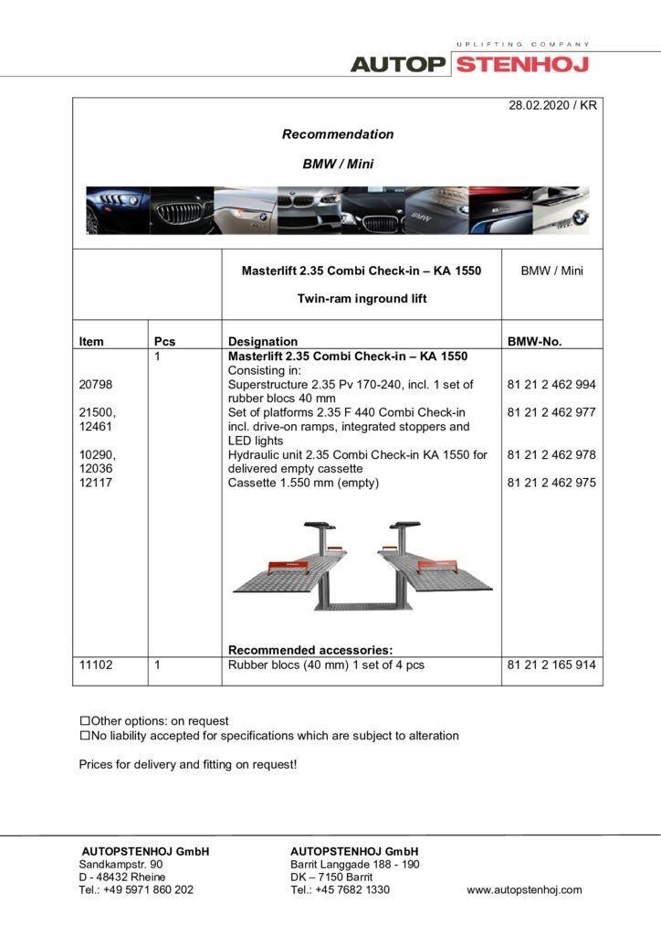 Masterlift 2.35 Combi Check in KA 1550 EN  pdf - BMW / Mini