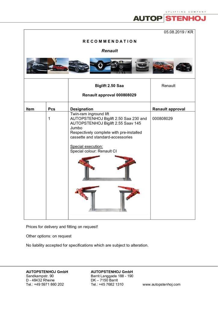 Update Biglift 250 Saa 000808029 EN  pdf - Renault