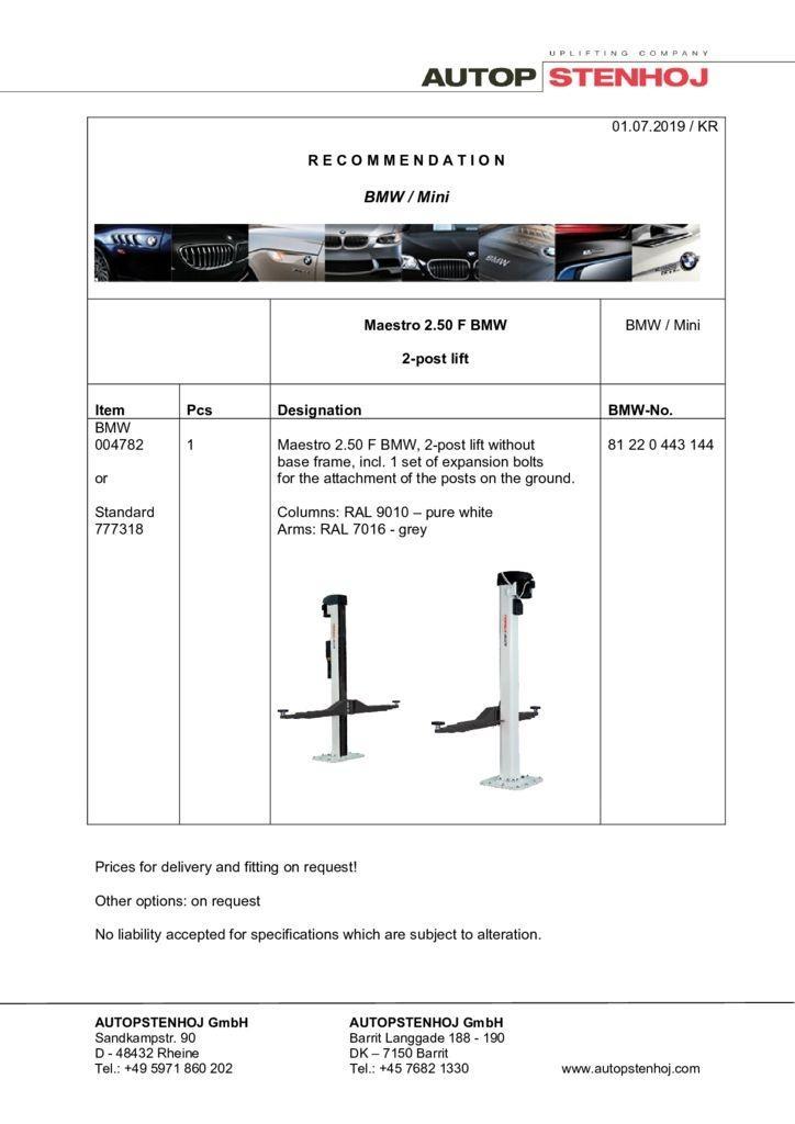 Update Firmenname Maestro 250 F EN  042018 pdf - BMW / Mini