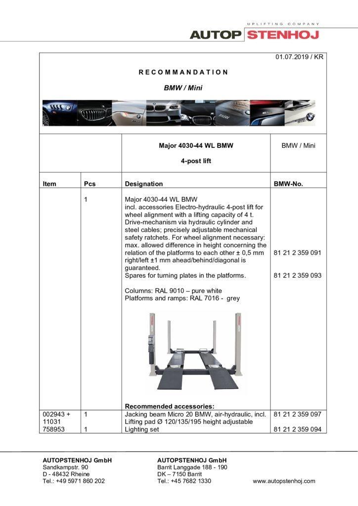 Update Firmenname Major 4030 44 WL EN 042019 1 pdf - BMW / Mini