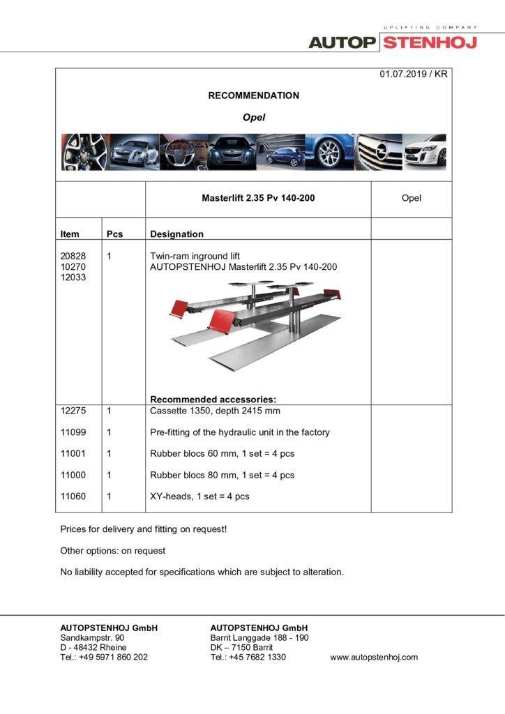 Update Firmenname Masterlift 235 Pv 140 200 EN  pdf - Opel