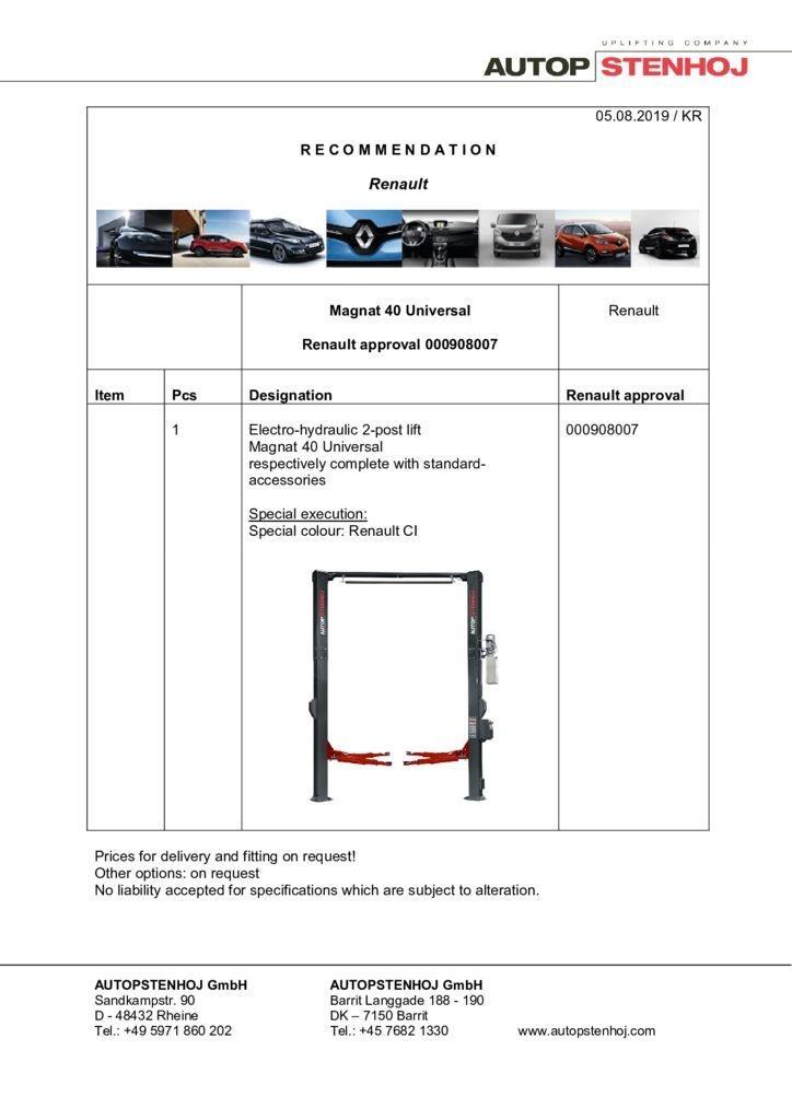 Update Magnat 40 Universal 00908007 EN  pdf - Renault
