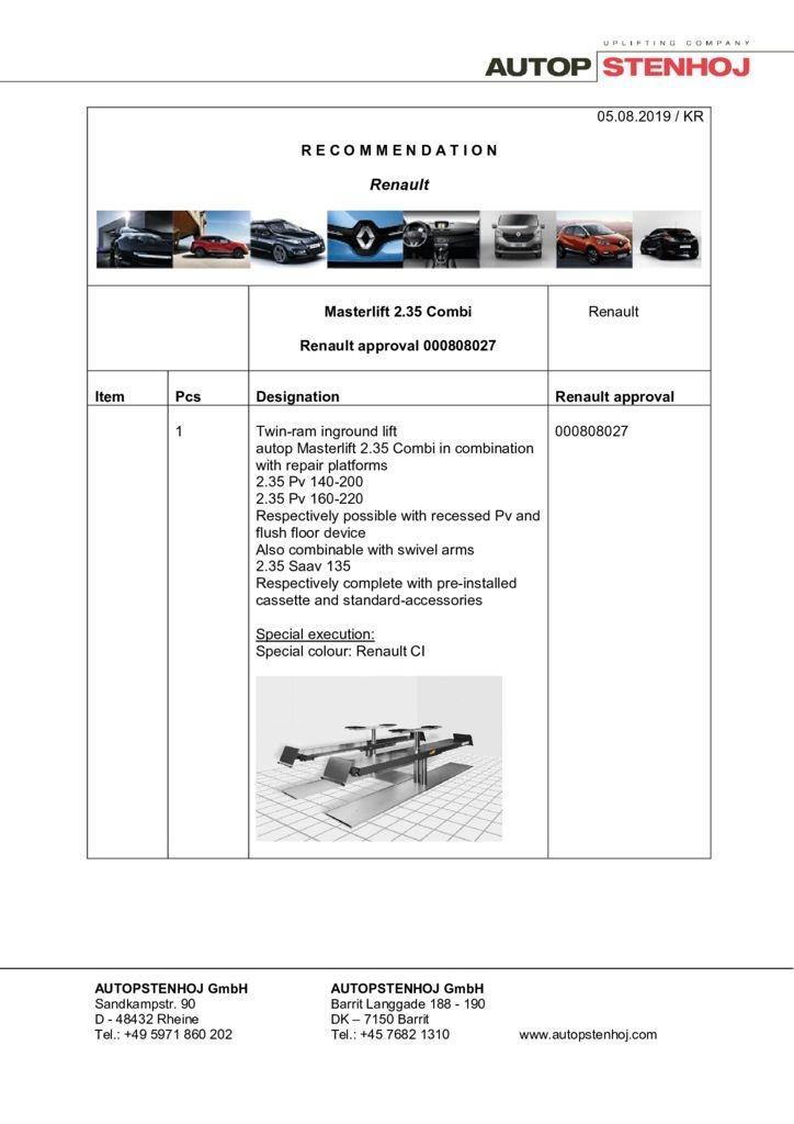Update Masterlift 235 Combi 000808027 EN  pdf - Renault