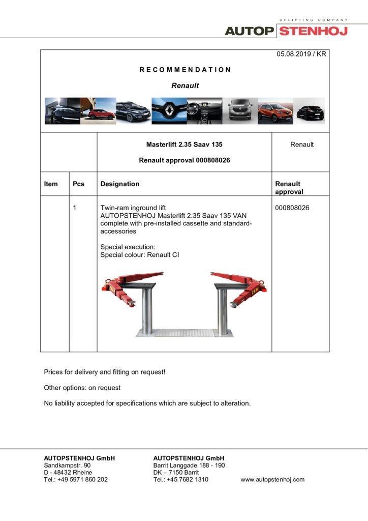 Update Masterlift 235 Saav 135Van 000808026 EN  pdf - Renault