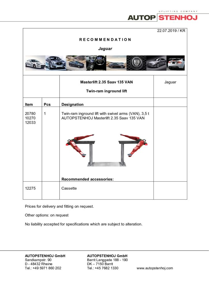 Update Masterlift 235 Saav 135 EN  pdf - Jaguar