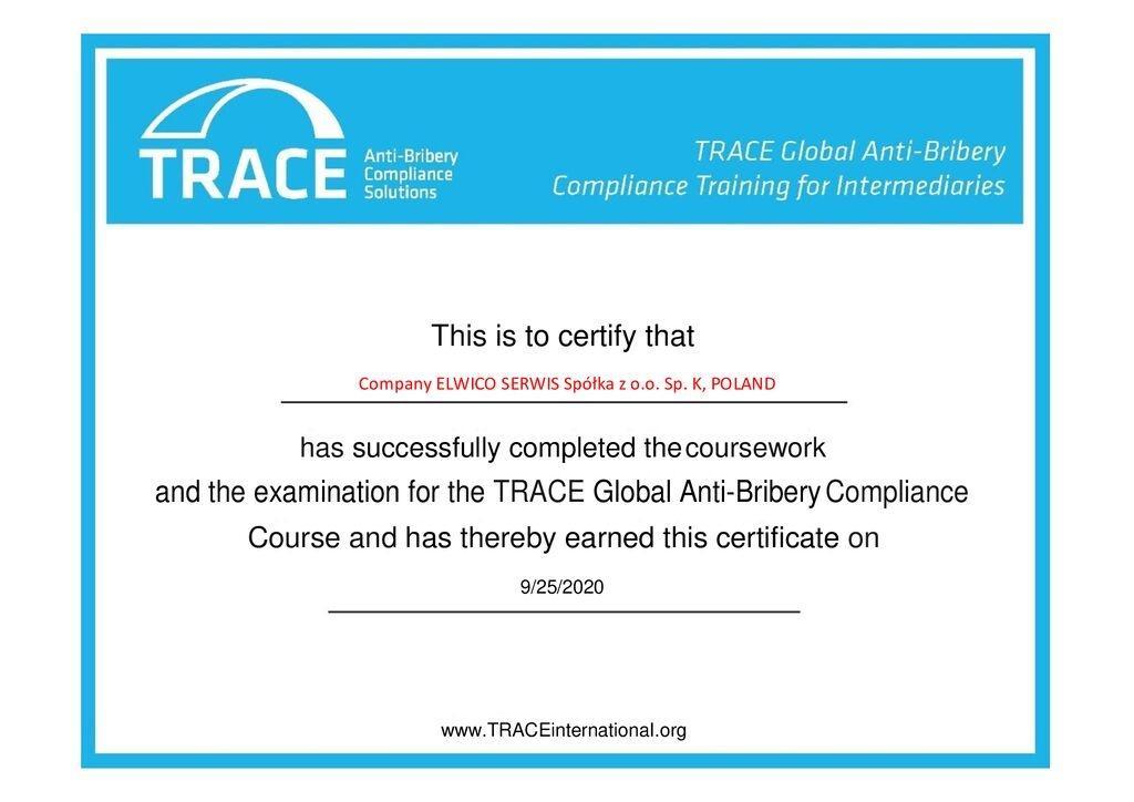 3131 7 914744 1601023110 TRACE Global Anti bribery Compliance Training for Intermediaries convertito pdf - Międzynarodowy certyfikat TRACE dla ELWICO SERWIS