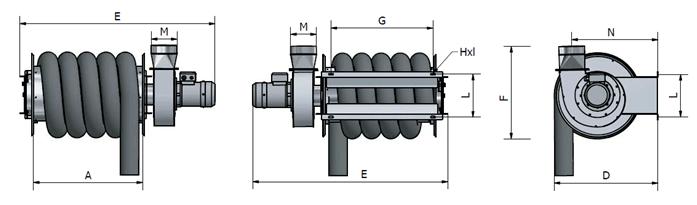 GMRF odciąg do samochodów ciężarowych wymiar - Bębnowy odciąg spalin do samochodów ciężarowych