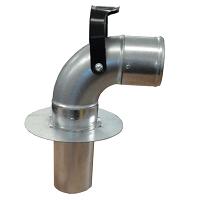 Podpodłogowy system odciągu spalin przyłączanym do wyjścia w podłodze oddciagpodpodlogowy elwicoserwis kolano przyłączeniowe 200 - Podpodłogowe wyciągi spalin