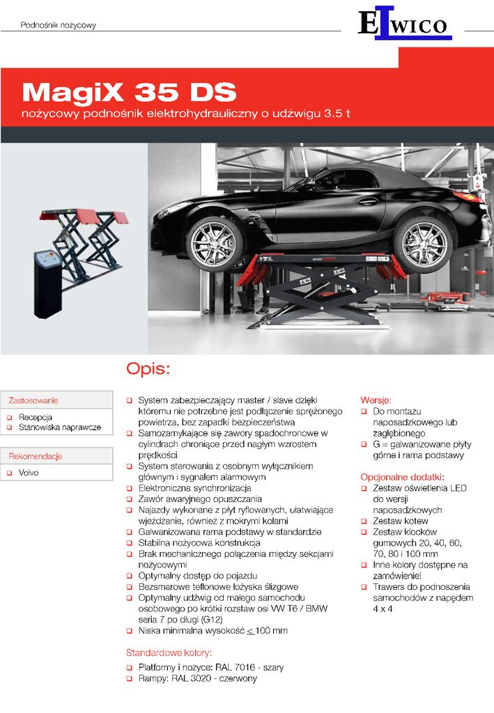 MagiX 35 DS  folder  Elwico Serwis PL pdf - Podnośnik nożycowy samochodowy MagiX 35 DS